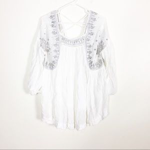 Free People Ivory W/ Blue Embroidered Sequins Top